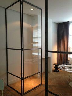 Could be a good idea to separate a seating area in a bedroom Glass Design, Door Design, House Design, Iron Doors, Metal Doors, Steel Doors And Windows, Bedroom Seating, Architecture Details, Glass Door