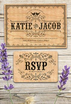 This wedding invitation set is printed on real cherry wood veneer, and kraft paper envelopes. A kraft paper backing allows for ease of writing on the reply card.