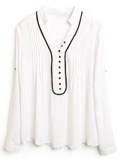White High Neck Long Sleeve Pleated Slim Shirt