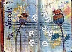 seeds art journal page     Ro Bruhn Art