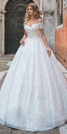 Modest Lace Off-the-shoulder Neckline Ball Gown Wedding Dress With 3D Lace Appliques & Beadings & Belt #weddings #modestweddingdresses
