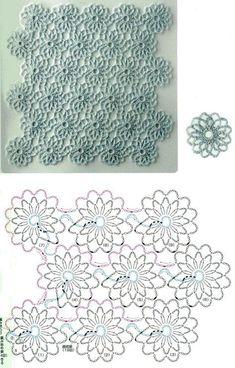 Een gratis haakpatroon van een bloemen steek. Leuk om een tafelkleed of een sjaal van te maken. Kom voor het haakpatroon van de bloemen steek snel verder..