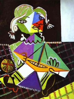 """picasso-girl-with-boat """"Art washes from the soul the dust of everyday life"""""""