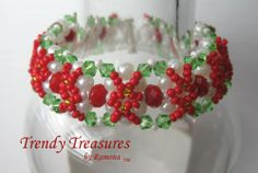 Red & Green Crystal Woven Bracelet,Fancy Bead Weaving,#TrendyTreasuresByRamona