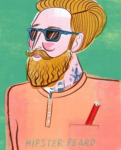 And of course you can't have a book about beards without mentioning our current male zeigeist the Hipster. I actually don't like that word - I think it's stupid. But hey here's a #hipster beard. #beard #man #design #illustration #pencil #tribes #sunglasses #raybans #fashion #style #malestyle #weekend #casual #shirt by sarah_tanat_jones