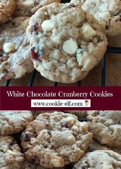 White Chocolate Cranberry Cookies are a unique variation of a traditional chocolate chip oatmeal cookie recipe - white chocolate chips and dried cranberries (Craisins) replace conventional semi-sweet chocolate chips. The result is a sweet drop cookie wi Oatmeal Chocolate Chip Cookie Recipe, White Chocolate Cranberry Cookies, Oatmeal Cookie Recipes, Semi Sweet Chocolate Chips, Oatmeal Chocolate Chip Cookies, Drop Cookies, Cake Mix Cookies, Cookies Et Biscuits, Cranberry Cookies