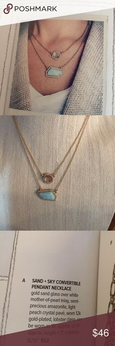 """Chloe+Isabel Sand + Sky Pendant Necklace Like getting two necklaces for the price of one! Wear together or each alone! Gold sand glass over white mother-of-pearl inlay, light peach crystal pave in a 12k gold plated setting. Lobster clasp. Wear as a 16"""" or 18"""" with 2"""" extender. Retails for $52. Comes in C+I drawstring pouch. Matching bracelet also for sale in my closet. Chloe + Isabel Jewelry Necklaces"""