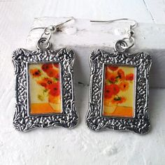 "Vincent Van Gogh ""Sunflowers"" Earrings Frame Tibetan Silver Plated"