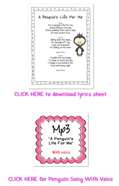 FREE DOWNLOAD: Penguin Song MP3. This song comes in 2 versions: with voice and karaoke. You can also download the lyrics sheet too. Use it to enjoy in the classroom or for presentations.  http://loveeducasong.blogspot.com/2013/01/crash-karma-and-penguins-freebie.html