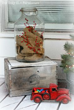 """The Cozy Old """"Farmhouse"""": A """"Junky"""" Christmas Porch - love the vintage truck with the vintage Christmas bulbs!"""