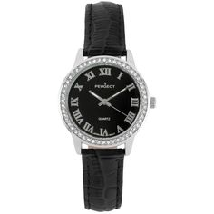 Peugeot Women's Crystal Leather Watch ($48) ❤ liked on Polyvore featuring jewelry, watches, black, crystal watches, leather wrist watch, buckle watches, peugeot and water resistant watches