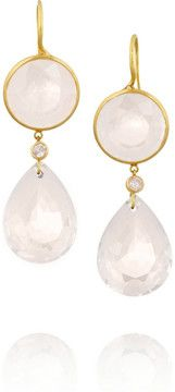 Marie-Hélène de Taillac 20-karat gold, rose quartz and spinel drop earrings