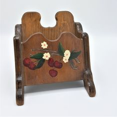 Vintage wood letter holder, napkin holder, recipe holder with cherries, Handmade wood storage box by Brookesrepurpose on Etsy