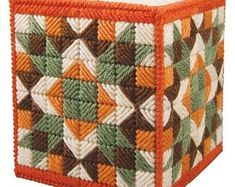 Cabin at the lake tissue box cover. Handmade with plastic canvas. Size: Wide x 5 High. Plastic Canvas Stitches, Plastic Canvas Tissue Boxes, Plastic Canvas Crafts, Plastic Canvas Patterns, Box Patterns, Quilt Patterns, Crochet Mandala, Crochet Lace, Crochet Humor