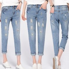 New Fashion Womens Sexy Destroyed Ripped Distressed Denim Pants Boyfriend Jeans | eBay