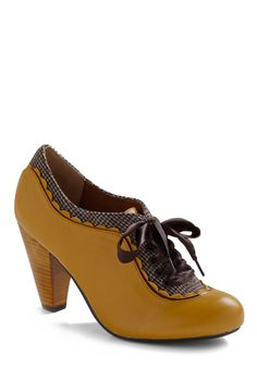 Ermagerd! Ser purrtty! About the Benjamins Heel in Goldenrod by Poetic License - Yellow, Brown, Solid, Houndstooth, Scallops, Party, Casual, 20s, Best Seller, Top Rated