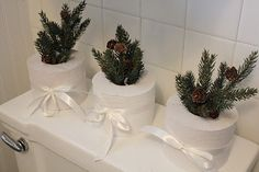 cute - simple way to enliven the bathroom without much fuss while using necessary items
