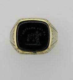 Man's 14 Karat Yellow Gold Intaglio Ring by PattyHansenGallery, $550.00