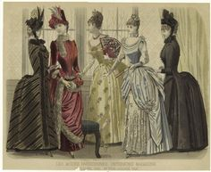 """Five beautiful dresses for """"five o'clock tea"""" from Les Modes Parisiennes, December 1886. #Victorian #fashion #1800s"""