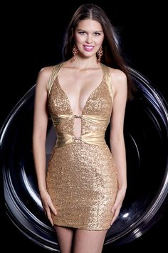 Best Gold Backless Mini Halter Empire Taffeta Made Sexy Sequin Cocktail/cute/club Prom Dress