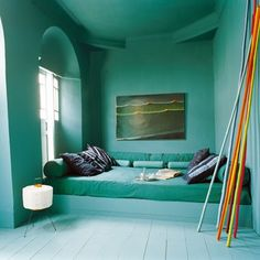 I would add a little more colour, for example in the sheets or the ceiling. Painted marrocan pattern on ceiling would look great as well!