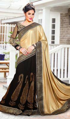 Black and Gold Color Satin Viscose Half N Half Saree Price: Usa Dollar $115, British UK Pound £68, Euro85, Canada CA$123 , Indian Rs6210.