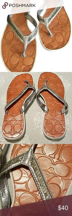 EUC Coach Laurel Flip flops Coach Laurel Silver Metallic flip flops with white soles, Signature leather insoles.  Worn 2-3 times Coach Shoes Sandals