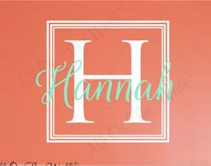 Square Monogram Wall Decal Boys Name Initial Vinyl Wall Decal - Coral monogram wall decal