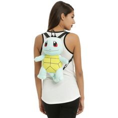 Nintendo Pokemon Squirtle Plush Backpack ($23) ❤ liked on Polyvore featuring bags, backpacks, black, daypack bag, nintendo bag, zip pouch bags, knapsack bag and rucksack bags