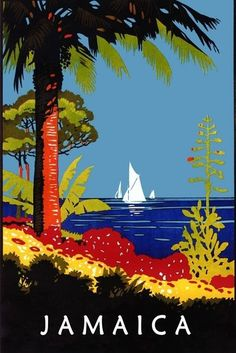 Jamaica Caribbean Sea Sailboat Travel Tourism Vintage Poster Repro FREE S/H