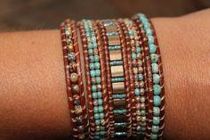 Leather wrap bracelet, Boho wrap, bohemian jewelry, 5 layer wrap, wristband…