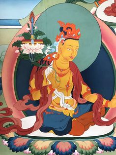 "Mañjuśrī (Tib. འཇམ་དཔལ་དབྱངས།) is a bodhisattva associated with transcendent wisdom (Skt. prajñā) in Mahāyāna Buddhism. In Esoteric Buddhism he is also taken as a meditational deity. The Sanskrit name Mañjuśrī can be translated as ""Gentle Glory"".  #ColoringForMeditation #TibetanArt #TibetanColoring #Thangka #BuddhistArt #BuddhistColoring"