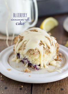 BEST cinnamon roll cake! It's blueberry filled and simpler to make than regular cinnamon rolls!