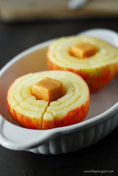 """Bloomin' Baked Apples with Caramels — they sure look delicious. Just make some circular and vertical cuts around the apple and add a caramel. Bake it and watch it """"bloom."""" This looks even better than baked apples with butter and cinnamon. Fruit Recipes, Apple Recipes, Sweet Recipes, Holiday Recipes, Dessert Recipes, Cooking Recipes, Fall Recipes, Vegetarian Recipes, Snacks"""