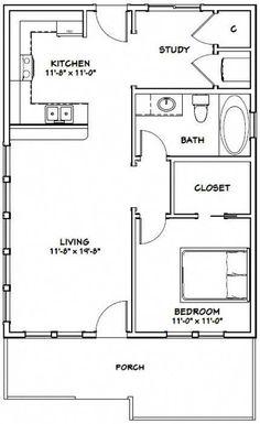 Details about House -- 1 Bedroom 1 Bath -- PDF Floor Plan -- 768 sq ft -- Model 1 Cottage Floor Plans, Small House Floor Plans, Bedroom Floor Plans, Modern House Plans, The Plan, How To Plan, Studio Apartment Floor Plans, Small Room Design, Bedroom Flooring