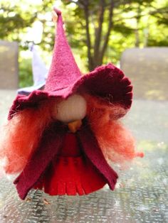 Red Wool Felt Witch, Peg Doll Witch, Waldorf Inspired, One of a Kind, Minature…