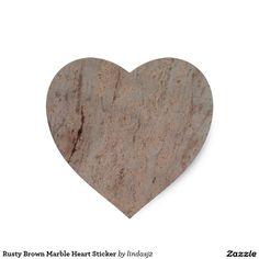 Rusty Brown Marble Heart Sticker