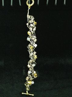 Gold Wire Crochet  Crystal and Gold Beaded by LadybugCharJewelry, $15.00