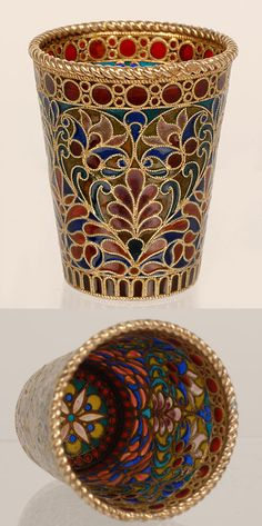 Russian silver gilt and plique-a-jour enamel beaker,by Pavel Ovchinnikov, Moscow, c1900.
