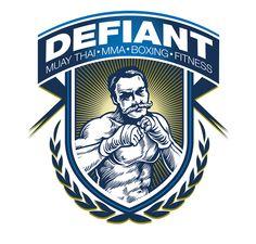 Defiant Gym Logo on Behance Logo Inspiration, Boxe Fight, Kickboxing, Muay Thai Gym, Branding Design, Logo Design, Gym Logo, Hand To Hand Combat, Motivational Phrases
