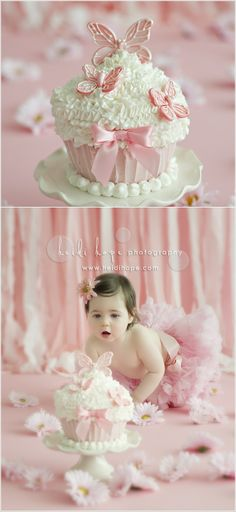 If you are in plans of doing a cake smashing photo session then a big cupcake like this pretty one is a great idea. You can try the same design in blue for your baby boy