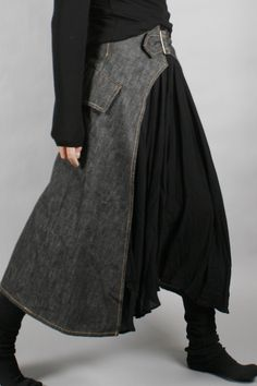 Y's by Yohji Yamamoto 单宁羊毛拼接设计款半身裙[SOLD OUT]-淘宝网