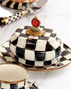 Courtly Check Butter Dish by MacKenzie-Childs at Neiman Marcus.