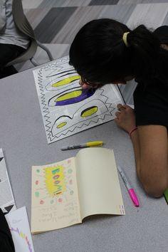 5th Grade Pop Art Illustration - Art Lesson - Studying Roy Lichtenstien - Literacy Connection: Onomatopoeias - Using Problem-Solving Skills  - Studying Careers in art, Illustration