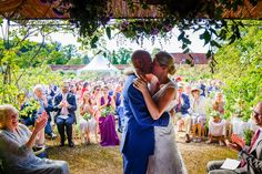 First Kiss - Outdoor Wedding Walled Garden Cowdray
