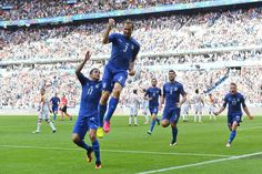Once bitten (by Suarez), but not twice shy. Chiellini celebrates his goal in Italy v Spain at Stade de France.