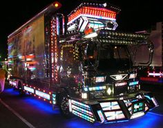 The Japanese have their own type of monster trucks. They're called Dekotora trucks, and you can see more incredible pictures here. Studio Ghibli, Totoro, Go Dog Go, Japan Tourism, Little Truck, Japanese Monster, Fishing World, Big Rig Trucks, Semi Trucks