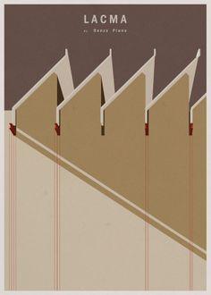 Museus em posters minimalistas   Arquitetura Sustentável