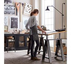 Need home office inspiration? Shop Pottery Barn for stylish home office furniture and decor. Create an stylish and functional home office with quality furniture and decor. Home Art Studios, Art Studio At Home, Studio Room, Studio Spaces, Office Art, Home Office Design, Home Office Decor, Home Decor, Desk Office
