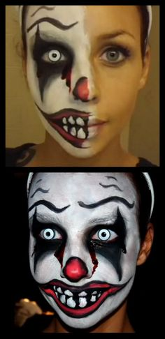 DIY Killer Clown Makeup Video Tutorial from Melissa Bernard here. Her original YouTube video for this makeup last year got over 1,700,000 views, but this link is to the one she just made that is much more detailed and has product info.